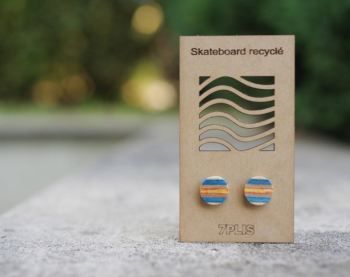 Recycled SKATEBOARD earring, 7PLIS orange blue wood, real 925 silver round