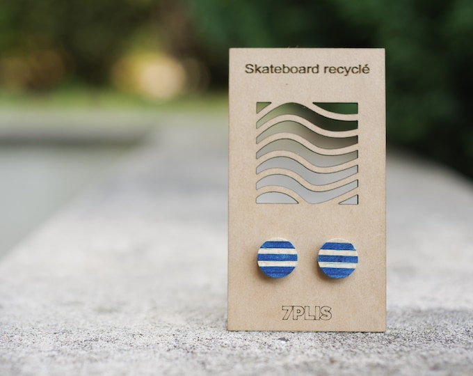 Recycled SKATEBOARD earring, 7PLIS dark blue wood, real 925 silver round