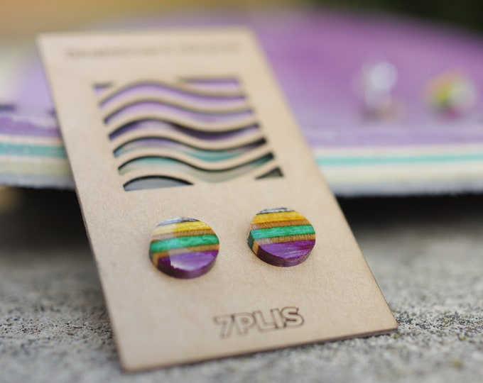 Recycled resin SKATEBOARD earring, 7PLIS purple yellow wood, real 925 silver round