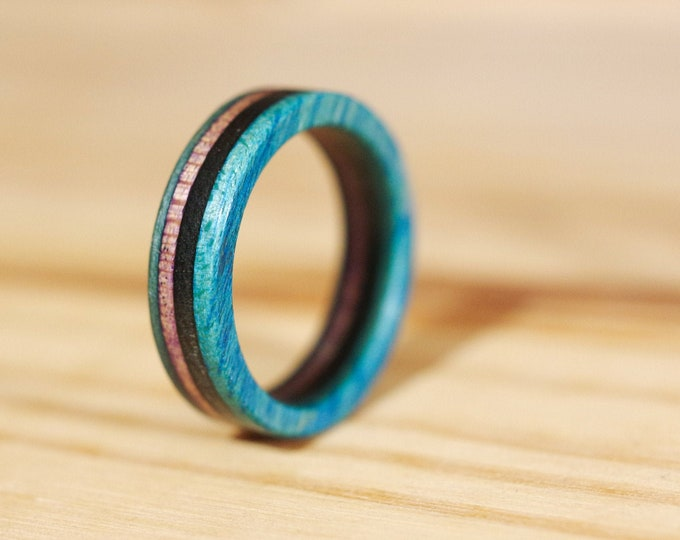 SKATEBOARD recycled ring blue green and black (wood)