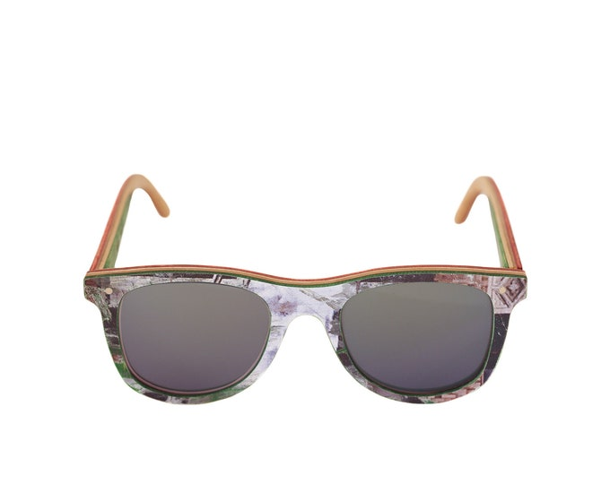 skateboard recycled sunglasses BUMP shape ! white green color #madeinfrance