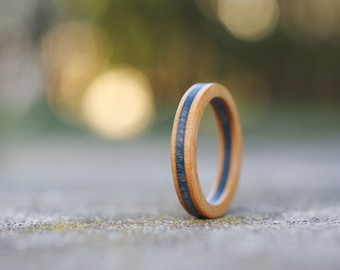 skateboard recycled wood ring blue