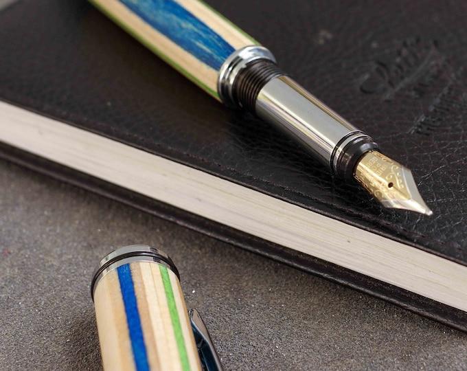 Fountain pen SKATEBOARD recycled 7PLIS, pink blue green wood, handmade