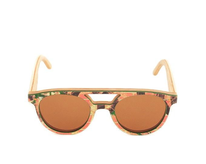 skateboard recycled sunglasses DOUBLE RAIL shape ! orange green color #madeinfrance