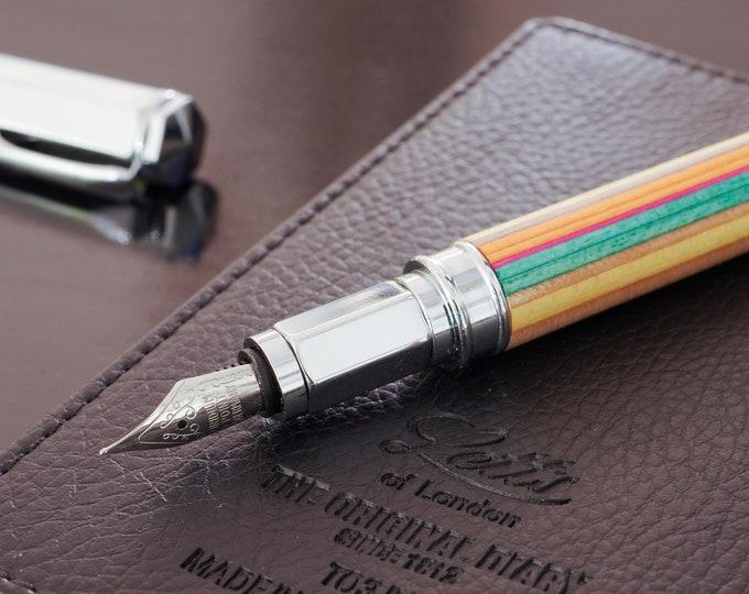Fountain pen SKATEBOARD recycled 7PLIS, red orange blue green wood, handmade