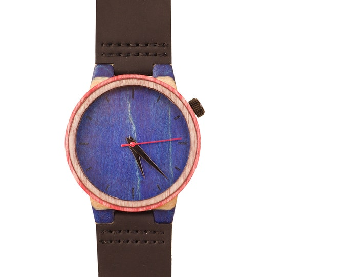 Recycled skateboard watch, blue white and wood, 7PLIS # 206 made in France