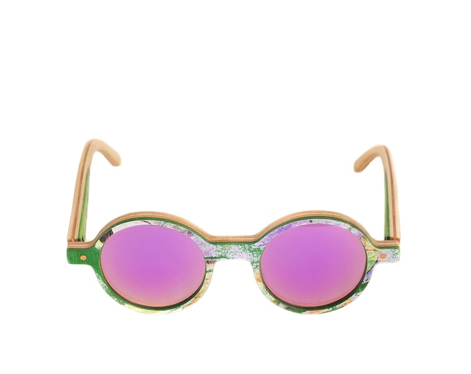 skateboard recycled sunglasses KINK shape ! green purple color #madeinfrance