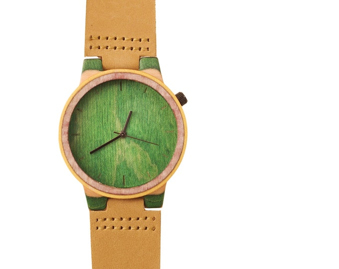 Recycled skateboard watch, black green and wood #169 made in France