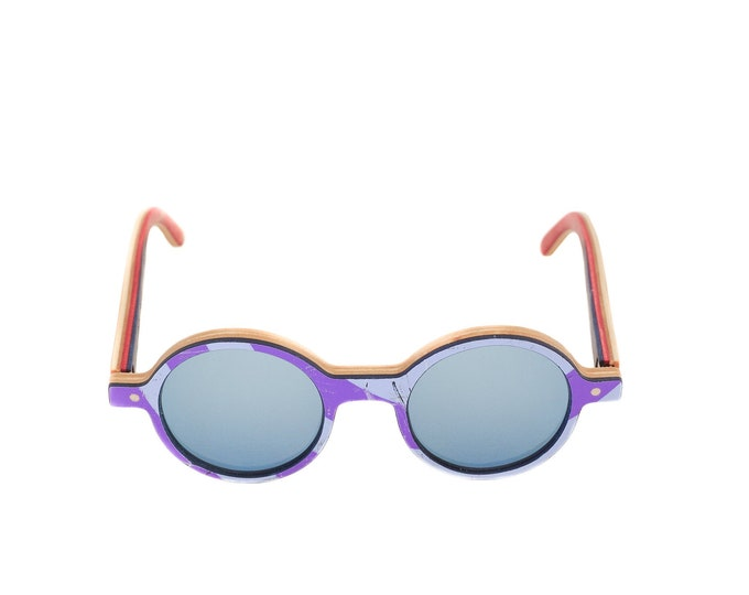 skateboard recycled sunglasses KINK shape ! blue purple color #madeinfrance