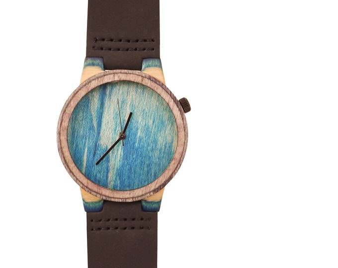 Recycled skateboard watch, blue turtoise and wood, 7PLIS #199 made in France