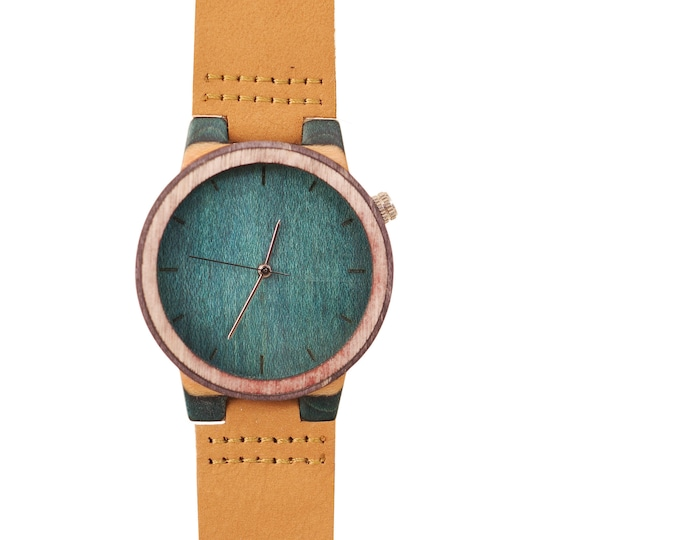 Recycled skateboard watch, blue green and wood, 7PLIS #198 made in France