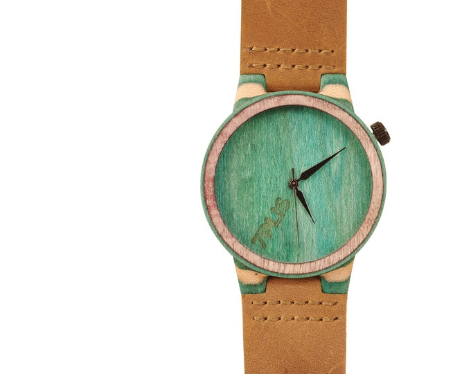 Recycled skateboard watch, yellow brown green and wood, 7PLIS # 194 made in France