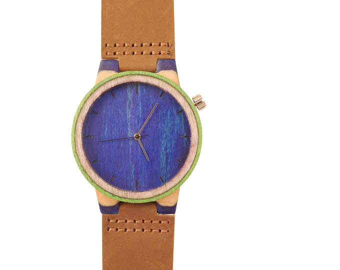 Recycled skateboard watch, blue white and wood, 7PLIS # 210 made in France