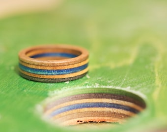 skateboard recycled wood ring blue black