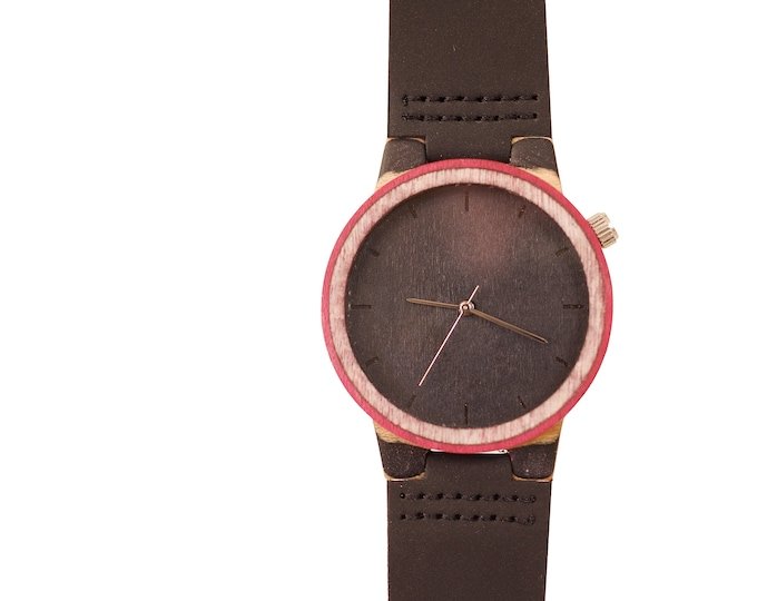 Recycled skateboard watch, black red and wood #185 made in France
