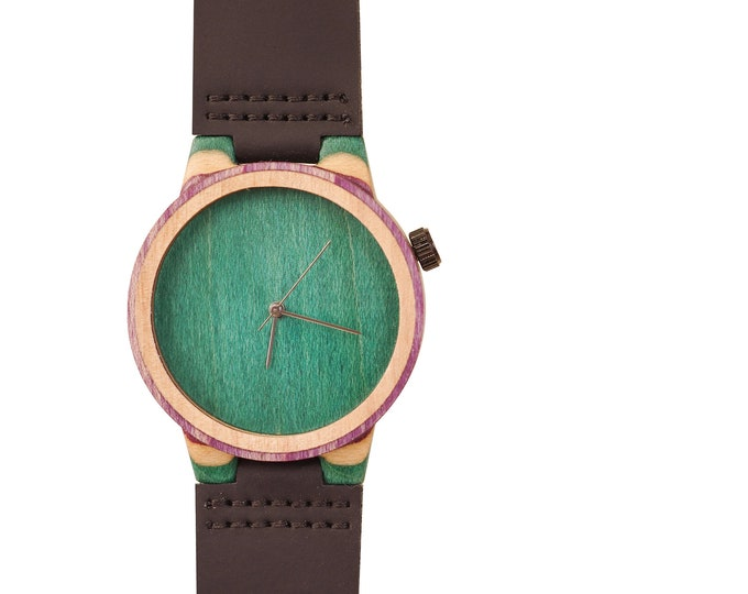 Recycled skateboard watch, green purple and wood, 7PLIS # 137 made in France