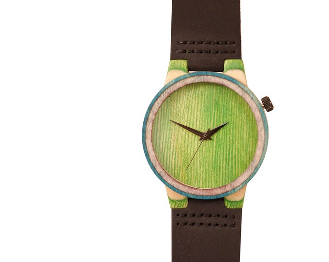 7PLIS watch #178 Recycled SKATEBOARD, madeinfrance brown green wood