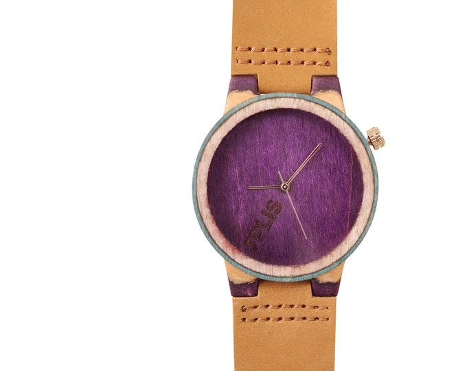 Recycled skateboard watch, green purple and wood, 7PLIS #200 made in France