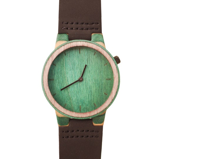 Recycled skateboard watch, black green and wood #193 made in France