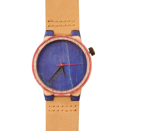 Recycled skateboard watch, blue white and wood, 7PLIS # 207 made in France