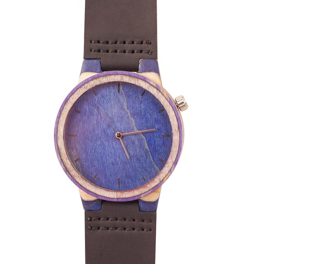 Recycled skateboard watch, blue white and wood, 7PLIS # 202 made in France
