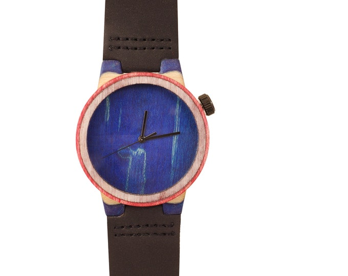Recycled skateboard watch, blue white and wood, 7PLIS # 205 made in France