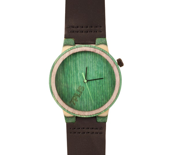 Recycled skateboard watch, black green and wood #220 made in France