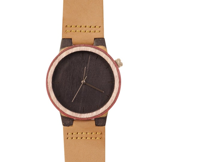 Recycled skateboard watch, black red and wood #217 made in France