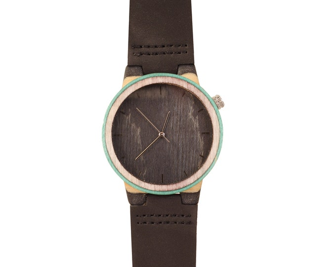 Recycled skateboard watch, yellow brown green and wood, 7PLIS #214 made in France