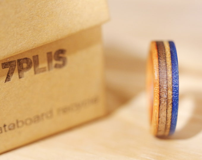 skateboard recycled wood ring orange blue black