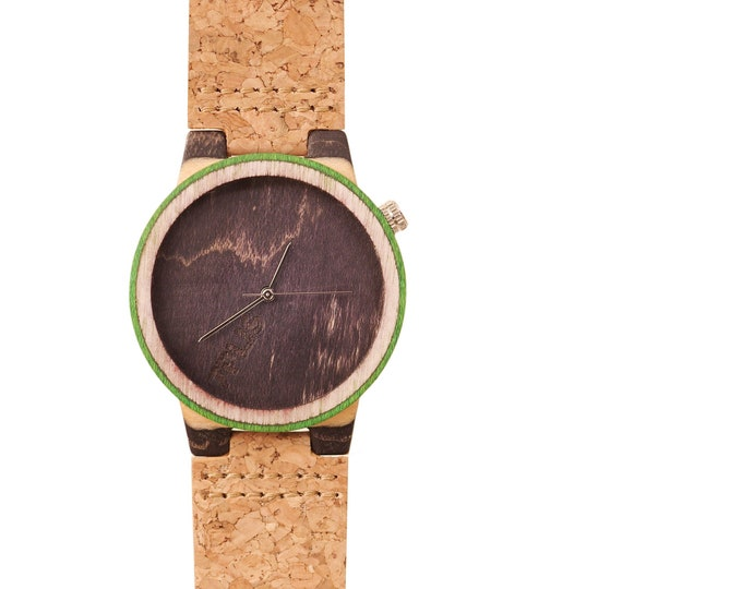 Recycled skateboard watch, black green and wood #188 made in France