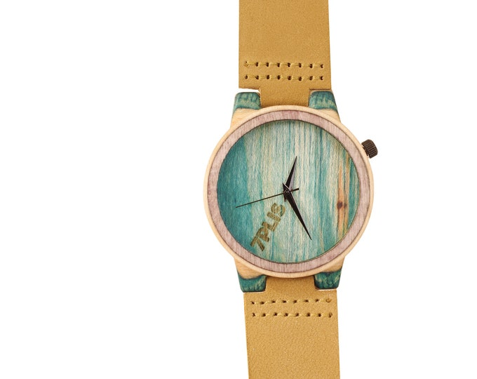 7PLIS watch #191 Recycled SKATEBOARD, madeinfrance brown green wood