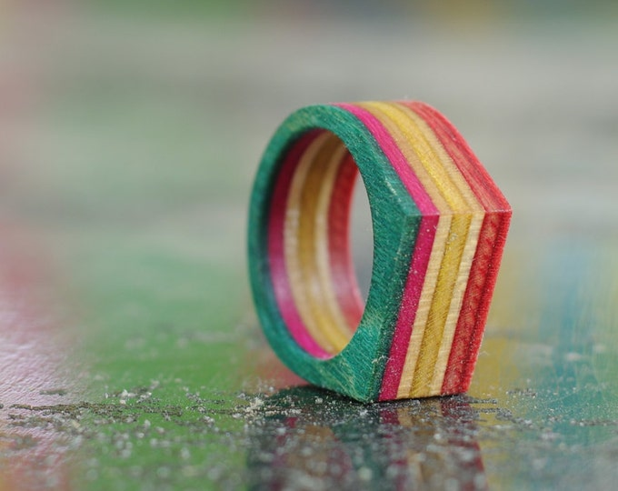 RECYCLED ring from a SKATEBOARD used yellow pink and green (wood)