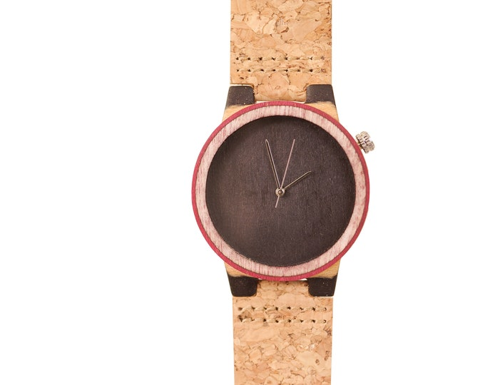 Recycled skateboard watch, black red and wood #184 made in France