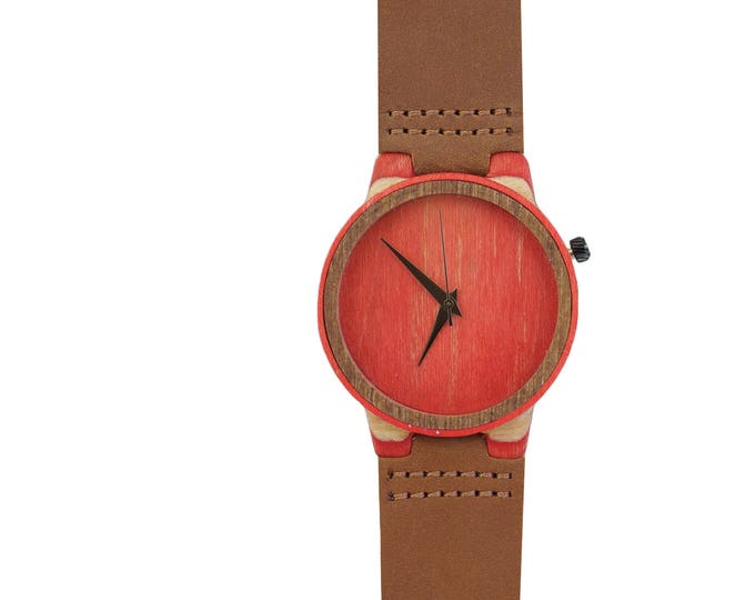 7PLIS watch #078 Recycled SKATEBOARD #madeinfrance red green brown