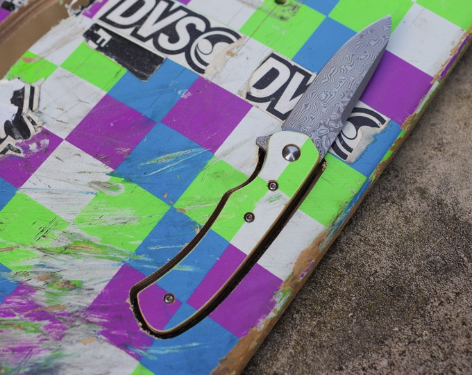 Unique knife recycled SKATEBOARD, green blue purple