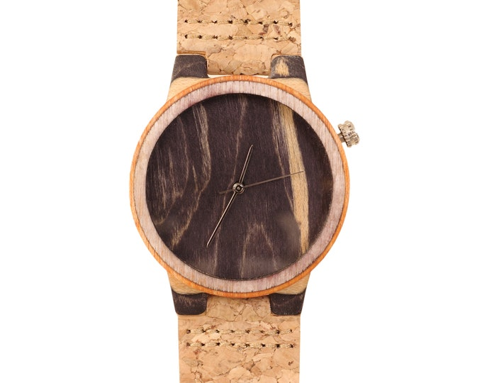 Recycled skateboard watch, black orange and wood #174 made in France
