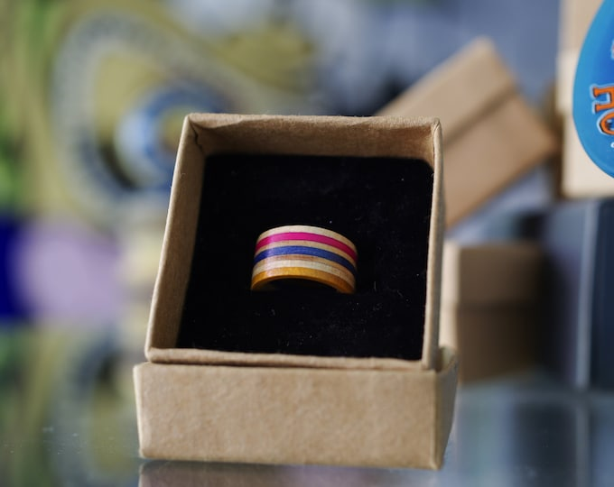 Recycled skateboard ring orange blue pink wooden