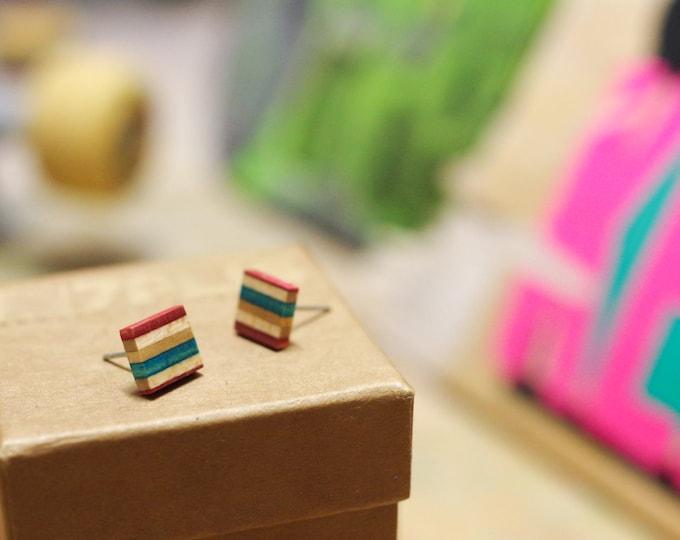 skateboard recycled wood earrings