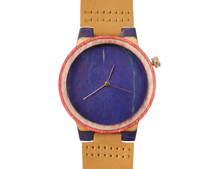 Recycled skateboard watch, blue white and wood, 7PLIS # 162 made in France