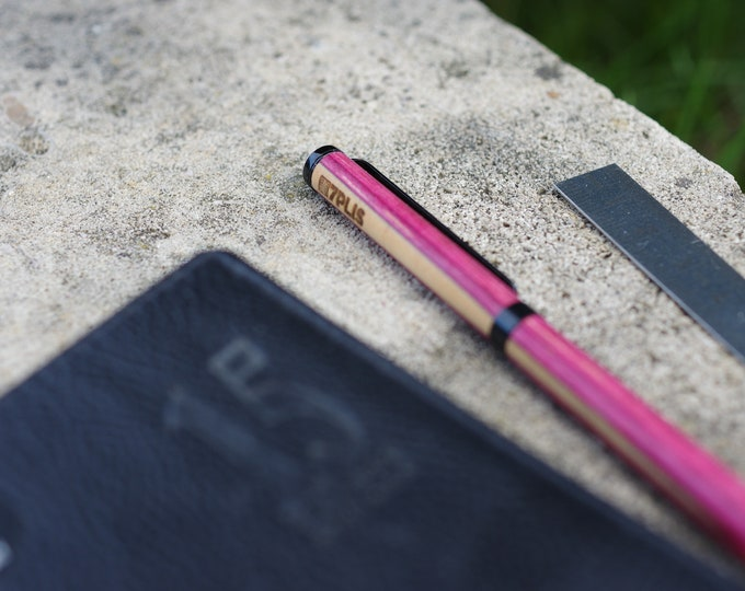 Recycled skateboard pen, pink black wood, made in France