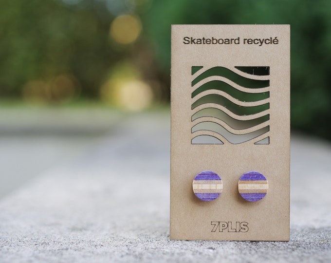 Recycled SKATEBOARD earring, 7PLIS purple wood, real 925 silver round