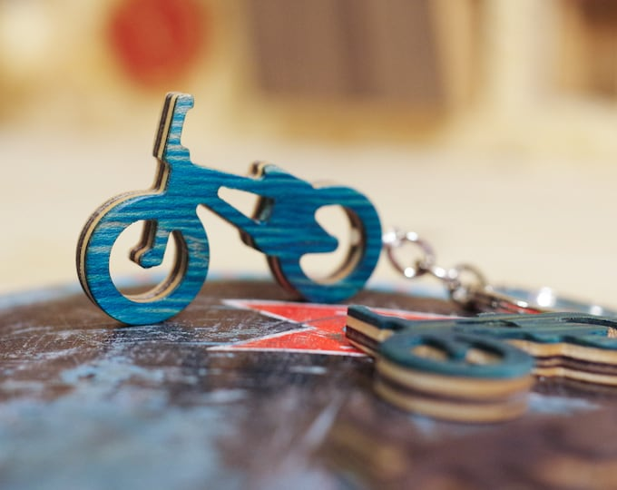 Keyring BMX recycled skateboard, green blue black yellow wood, 7PLIS wood upcycle