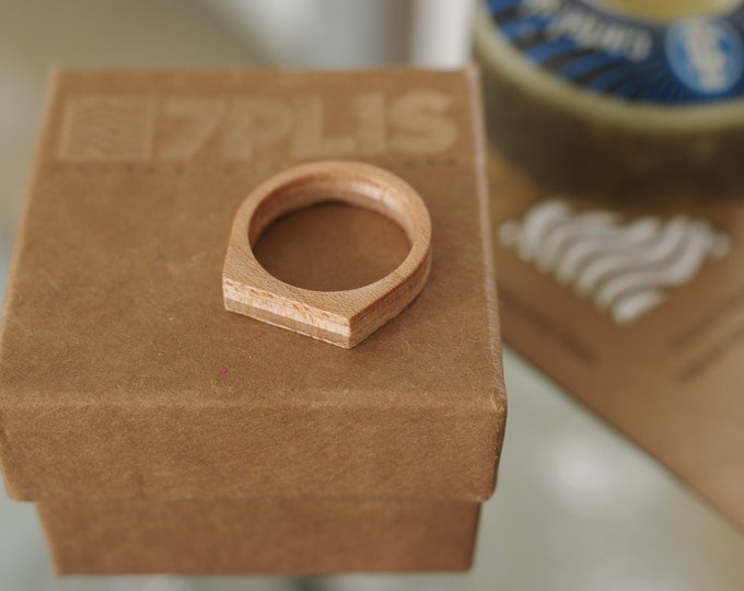 skateboard recycled wood ring