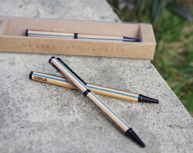 Recycled skateboard pen, blue wood, made in France