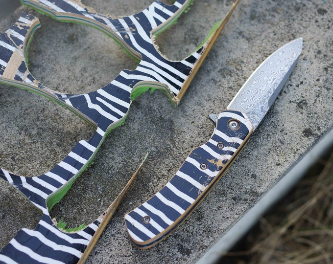 Recycled handle knife, wood skateboard black and white, handmade
