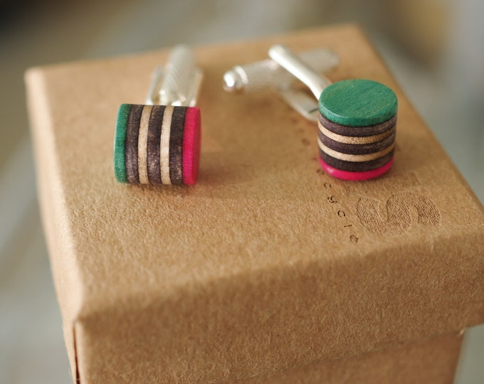 cuff links recycled wood