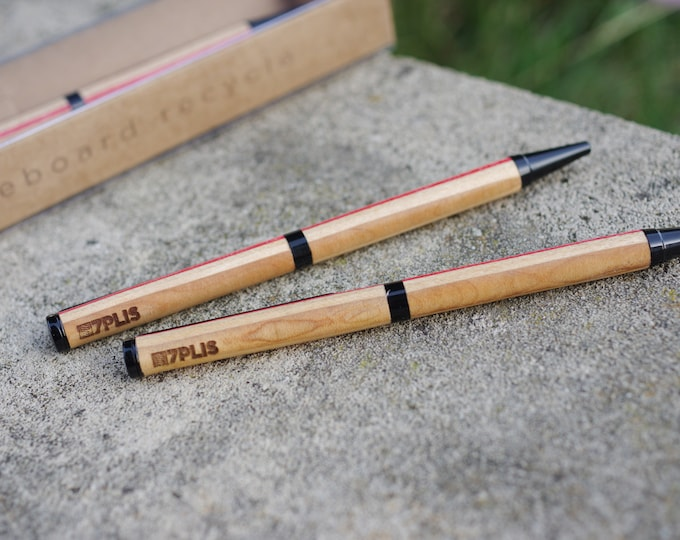 Recycled skateboard pen, red brown wood, made in France