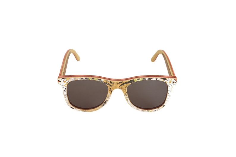 skateboard recycled sunglasses BUMP shape  white brown color image 0