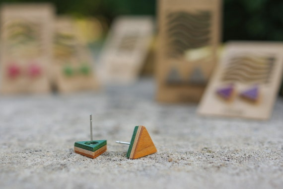 skateboard recycled wood triangle earrings green orange red black grey purple #madeinfrance